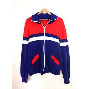 Vtg 70s 80s USA Olympic Style Track Warm Up Jacket